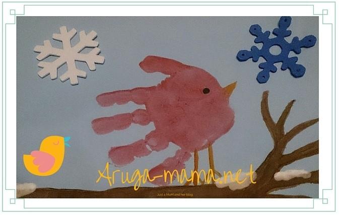 小鳥の手形アート