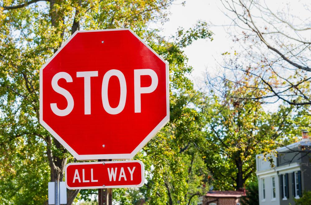 アメリカのストップサイン。All way stop