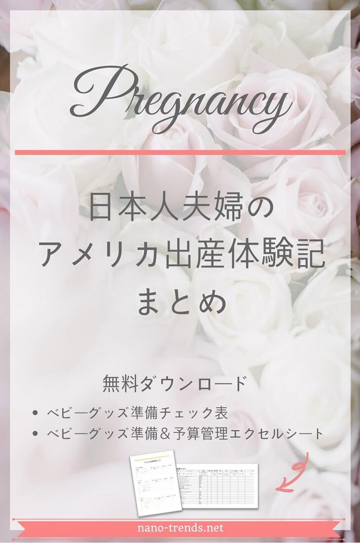 日本人夫婦のアメリカ出産体験記のまとめ。初検診、両親学級、出生前診断、無痛分娩と出産直後のアメリカでの妊娠と出産の体験記です。