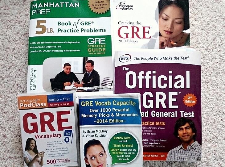 GRE対策用の参考書や本、英単語集