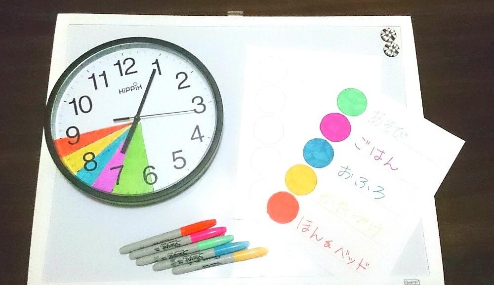 簡単につくれる子どもの生活タイムスケジュール表。幼児でも見て分かるカラフル時計の作り方