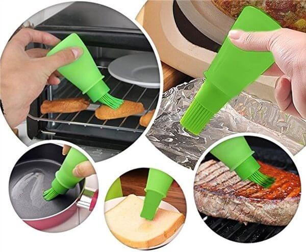 アメリカの便利なキッチン用品。オイルブラシ付きボトル