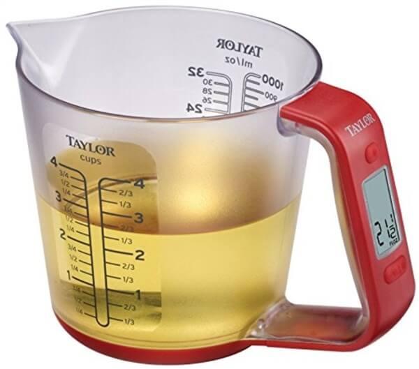 アメリカの便利なキッチン用品。重さもはかれる計量カップ