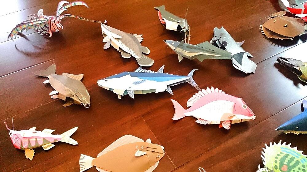 手作り魚釣りゲームの魚たち