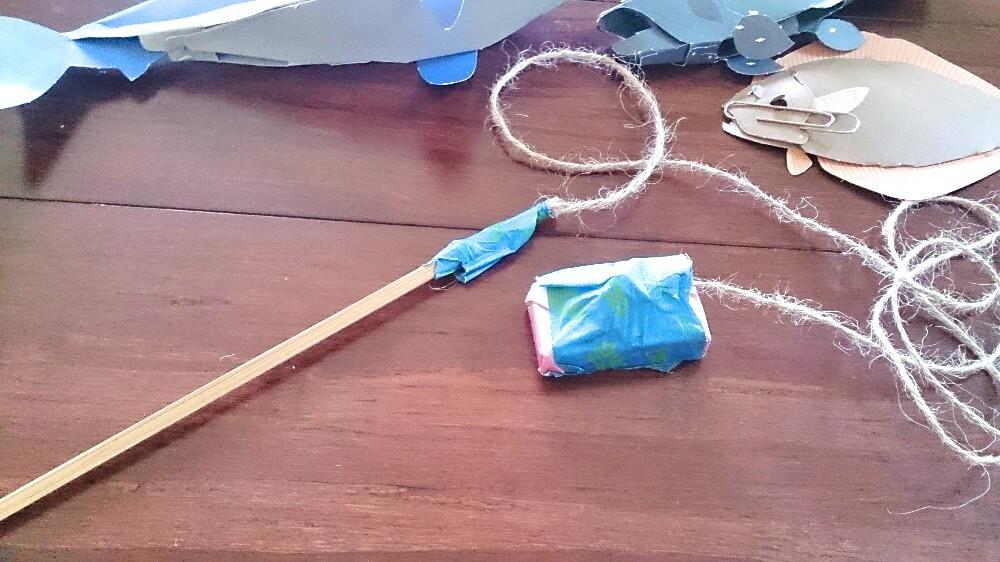 磁石の魚釣りゲームの竿