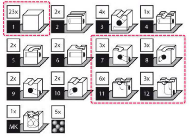 キュボロスタンダードとベーシスで違うブロックの種類