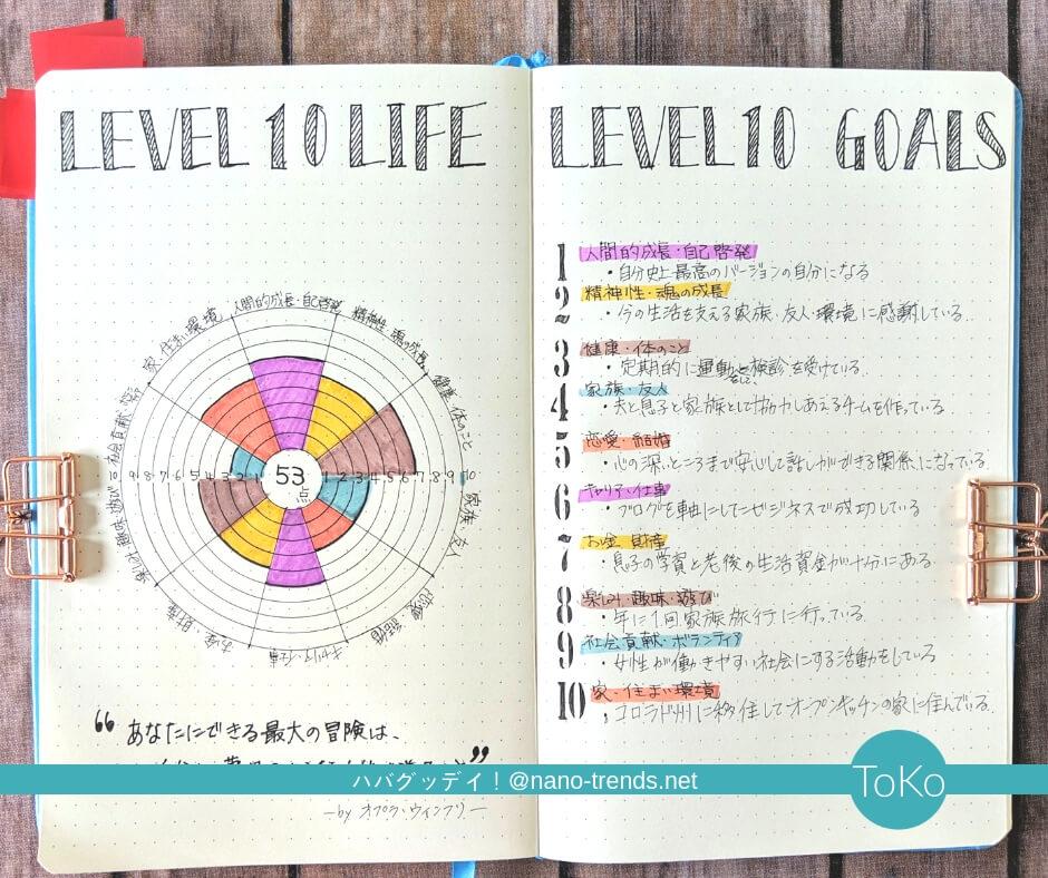 人生に点数を付ける簡単な方法。10分野10点満点で人生の円グラフを作る。